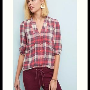 Anthropologie Plaid Medford Tunic Red Blue